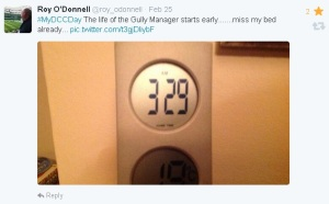 Roy O'Donnell and the gully maintenance crew were the first ones tweeting from very, very early